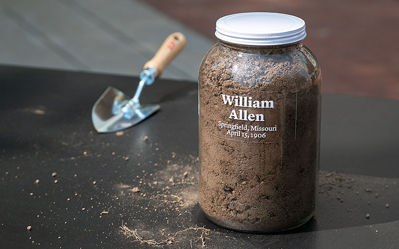 jar of soil collected from lynching site